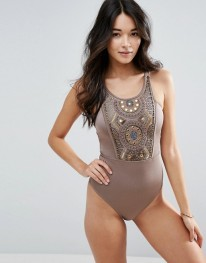 ASOS Bead Mirror Embellished Panel Swimsuit 1