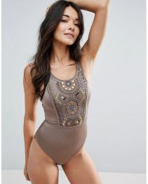 ASOS Bead Mirror Embellished Panel Swimsuit 3