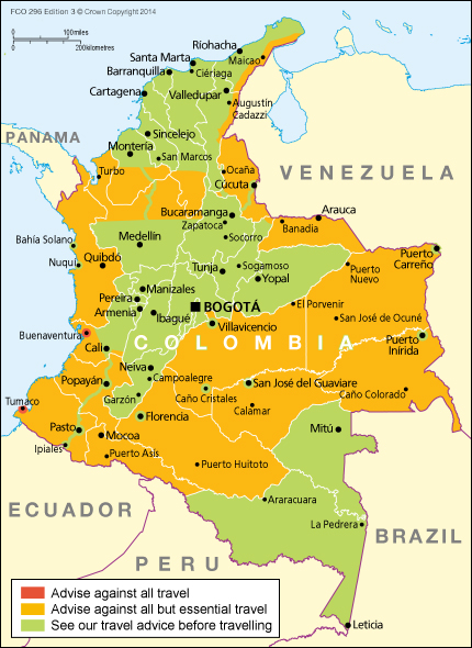 Colombia backpacking preparation checklist luckytravelblog however it is recommended to check government travel advice before travelling httpsgovforeign travel advicecolombia the map below shows which gumiabroncs Image collections